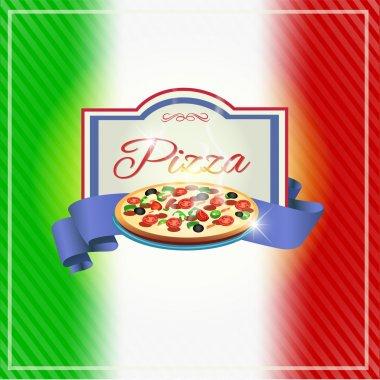 Pizzeria label design vector illustration stock vector
