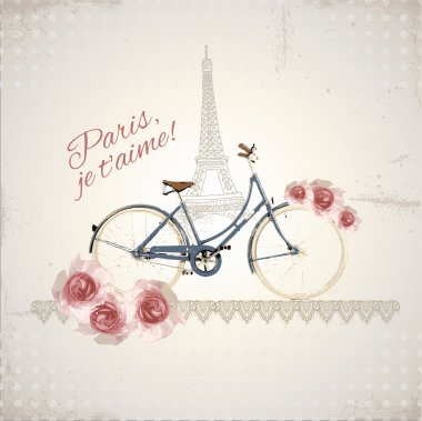 Romantic postcard from Paris stock vector