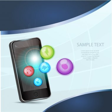 Smartphone and Social Media icons stock vector