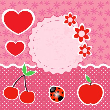 Vector set of pink frames with hearts. stock vector