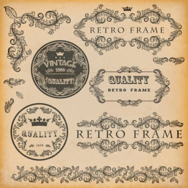 Vector set of vintage frames stock vector