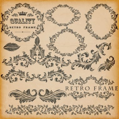 Vector set of vintage frames stock vector