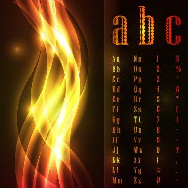 Fire font, vector illustration stock vector