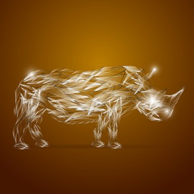 Abstract glass rhino, vector illustration stock vector