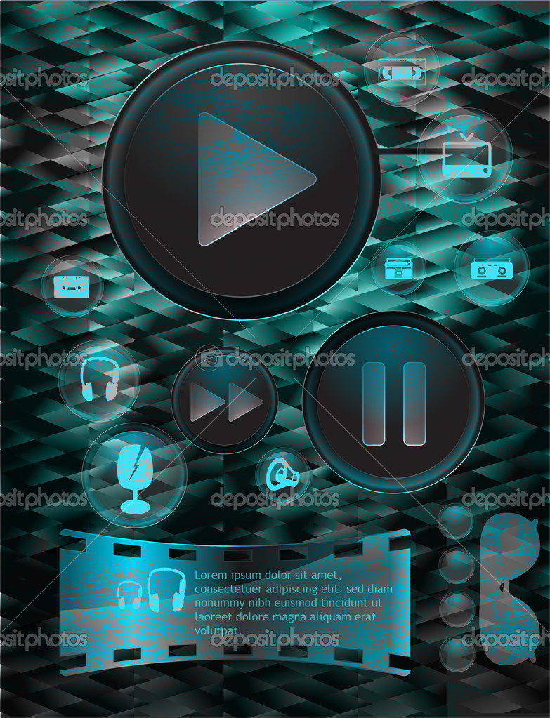 Set of vector media player buttons. stock vector
