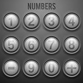 Vektor-Set von Zahlenknöpfen