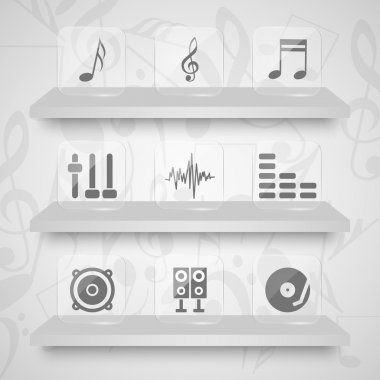 Vector set of sound icons. stock vector