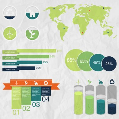 Ecology info graphics collection, charts, symbols, graphic stock vector