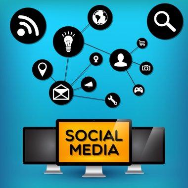 Vector social media, vector illustration stock vector