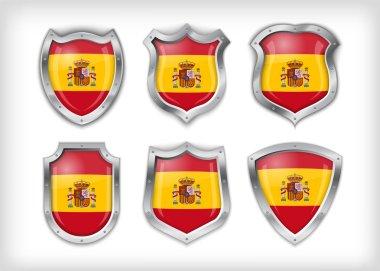 Spain flag on metal shiny shield vector