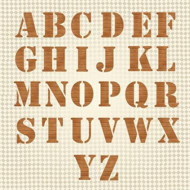 Old Grunge Wooden Alphabet, vector set stock vector