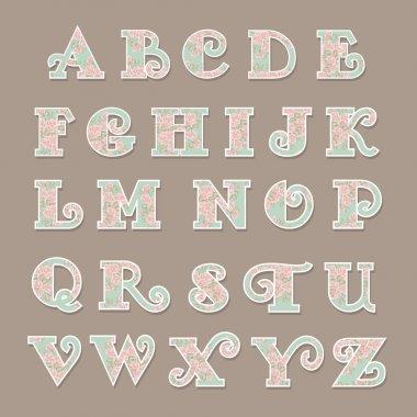 Vector colorful flower alphabet stock vector
