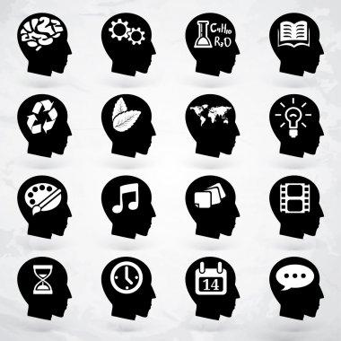 Head brain vector labels set stock vector