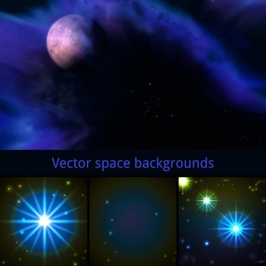 Vector space backgrounds set stock vector