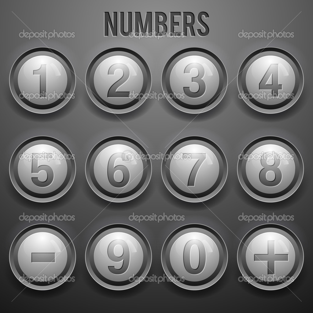 Vector set of number buttons stock vector
