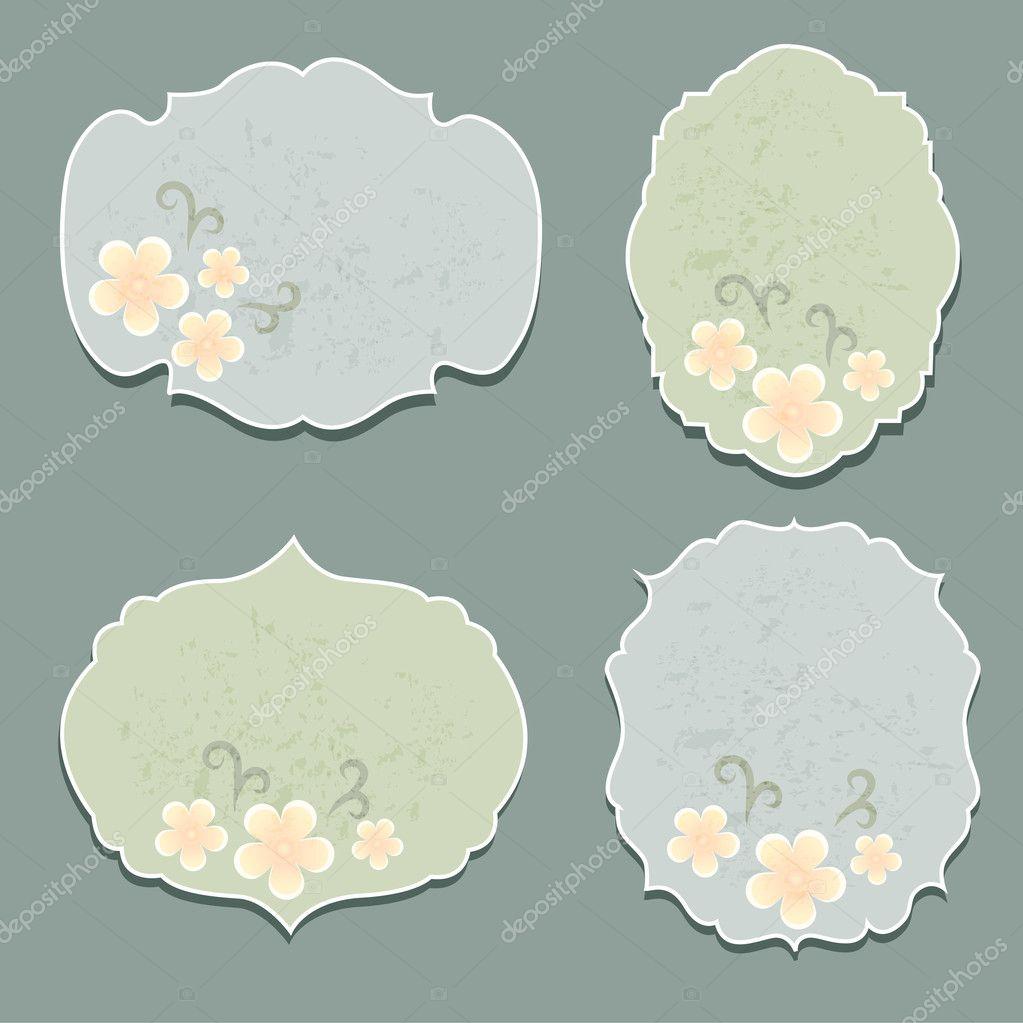 Set of flora labels vector stock vector