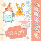 Vektor baba lány üdvözlés kártya