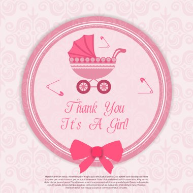 Bright baby girl arrival card. stock vector