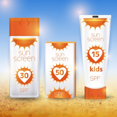 Sun cream containers. Vector illustration stock vector