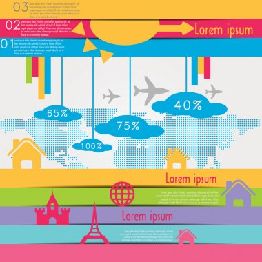 Travel infographics with data icons and elements stock vector
