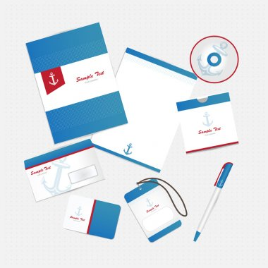 Corporate identity with anchor stock vector