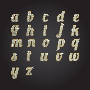 Vector golden alphabet with diamonds stock vector