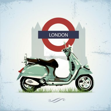 Green vintage scooter in London stock vector