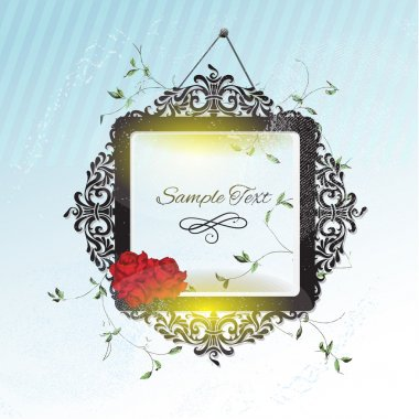 Vintage frame with roses stock vector