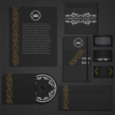 Vintage and black corporate identity. stock vector