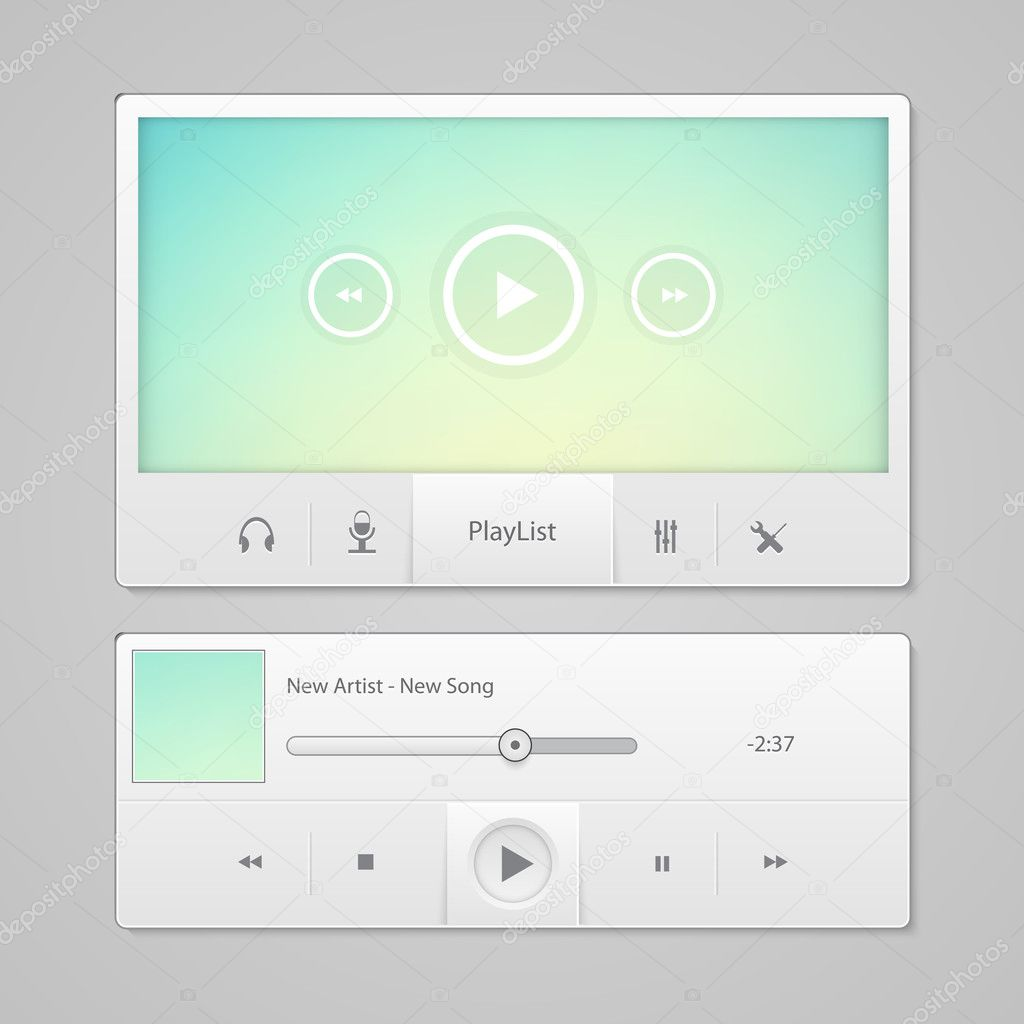 Blue video player for web stock vector