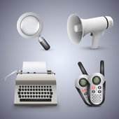 Magnifying glass, gramophone, typewriter and radio. Vector icons.