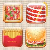 Jídlo ikony set, vektorové ilustrace