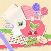 Illusztráció cseresznye és fekete áfonya, termékek tervezése, papír textúra