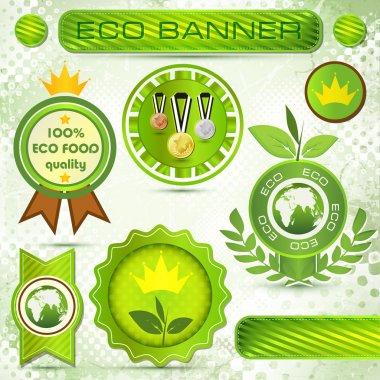 Eco labels with retro vintage design. stock vector