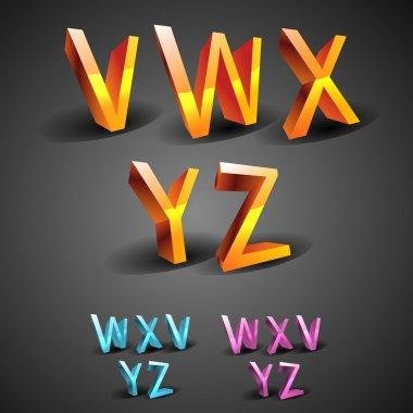 Vector glowing Alphabet, vector illustration stock vector