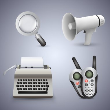 Magnifying glass, gramophone, typewriter and radio. Vector icons. stock vector