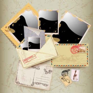 Set of envelope, stamp and instant photo frame. stock vector