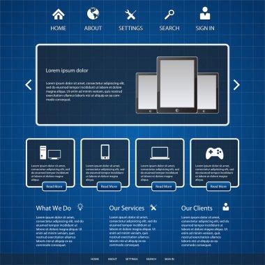 Blue website template, vector illustration stock vector