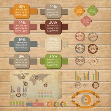 Retro infographics set., vector illustration stock vector