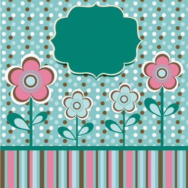 Green background with flowers stock vector