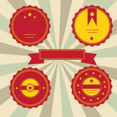 Set of red labels stock vector