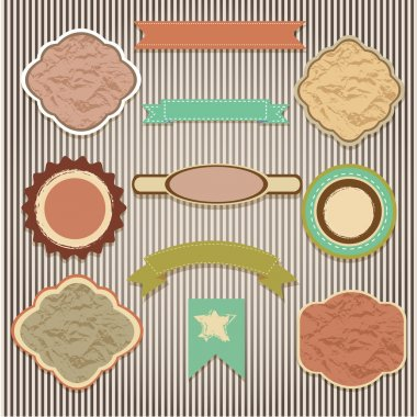 Set of labels on a striped background stock vector