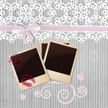 Photo frame on grey background stock vector