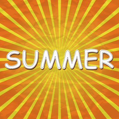Yellow background with the word summer stock vector