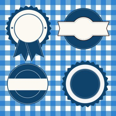 A set of blue white labels stock vector