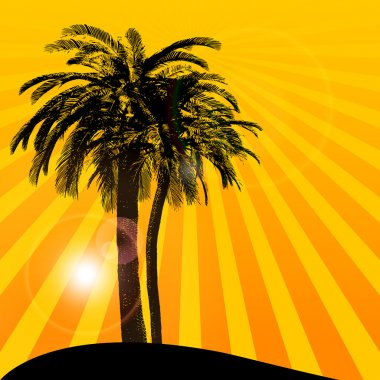Orange background with palm tree stock vector
