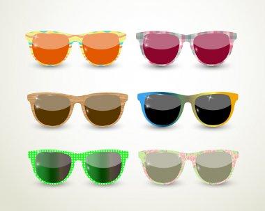 Set of multicolored glasses