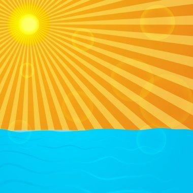 Sun over the ocean stock vector