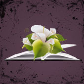 Vektor nyitott könyv, virágok