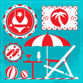Summer holiday icons. Vector